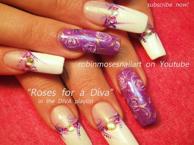 Purple Roses with Bling Nail Art