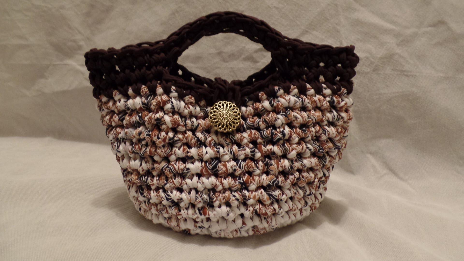 T Shirt Yarn #Crochet Purse Handbag #TUTORIAL