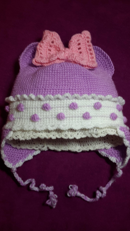 1-Шапочка детская утепленая крючком-1часть.Baby Crochet Cap