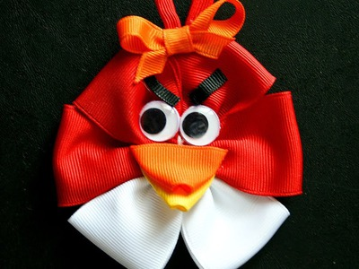 Angry Birds inspired hair bow tutorial (how to make hairbow)