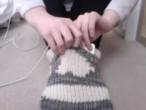 "Apple Mac knitted sock foot warmer - ""Sockintosh"""