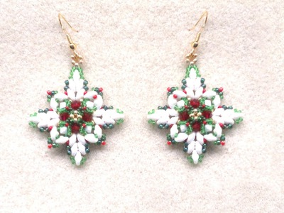 Beading4perfectionists : Christmas earrings with superduo beads beading tutorial