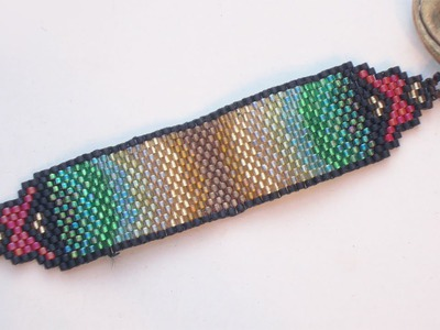 BeadsFriends: Peyote Stitch Bead Pattern - Bookmark made with Delica beads (odd count peyote stitch)