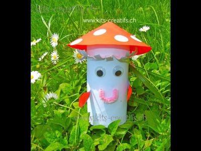 Bricolage enfant. Champignon avec rouleau de papier toilette. DIY toilet paper roll kids crafts
