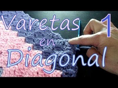 Cómo tejer varetas en diagonal 1° parte (diagonal double crochet) -tejido para zurdos-