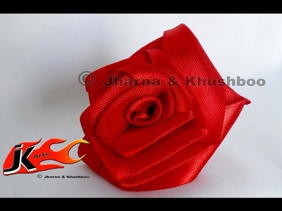 DIY How to make Rose flower from Satin Ribbon -  JK Arts 011