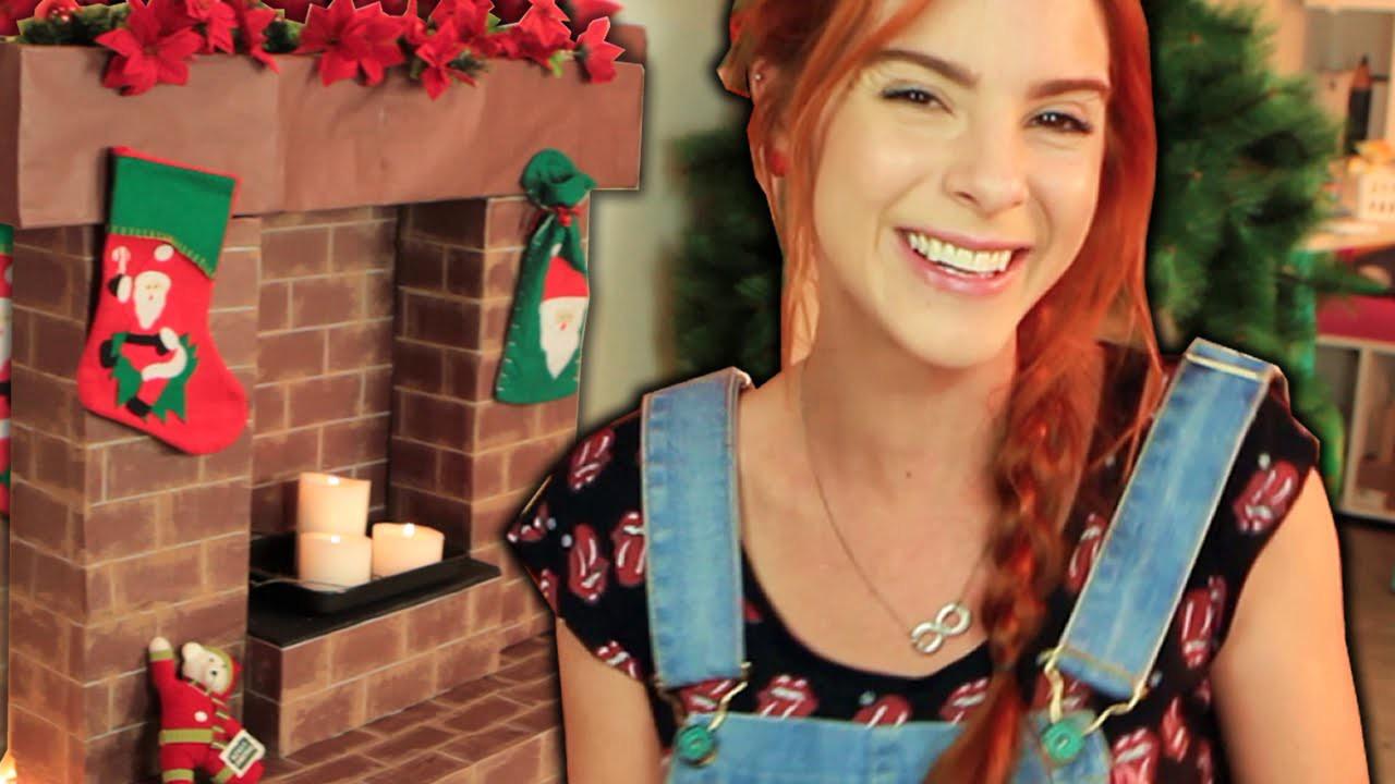 DIY :: Lareira Fake para Decorar - Preparando o Natal! ♥ ♥  Com Papelão