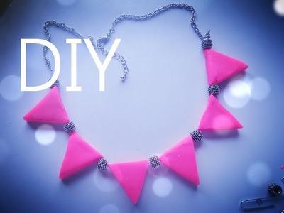 DIY ♡ Neon Triangle  Statement Necklace