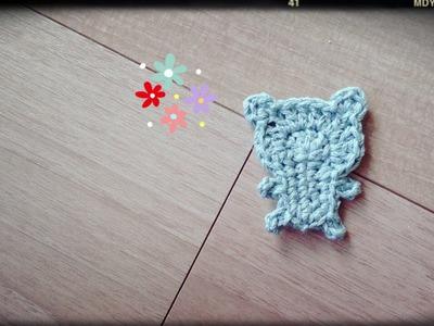 くまのモチーフの編み方How to crochet a bear motif