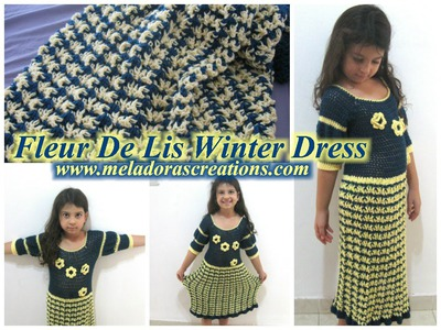 Fleur De Lis Winter Dress - Left Handed Crochet Tutorial