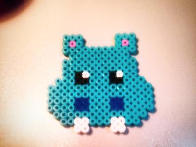 Hipopótamo Kawaii de Hama Beads