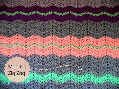 Manta de ganchillo puntada Zig Zag (Tutorial paso a paso) - Crochet Zigzag Blanket (DIY)
