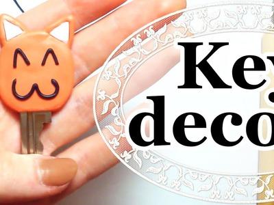 МК:  Декор ключа в виде рыжего кота!. DIY: Cute cat - key decor | Polymer Clay Tutorial