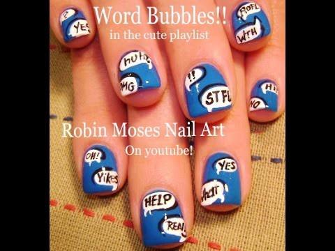 Nail Art Tutorial | Easy Short Nail Art | DIY Word Bubbles Nail Design