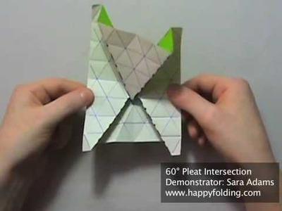 Origami Tessellation Basics: 60 Degree Pleat Intersection