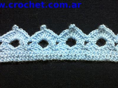 Puntilla N° 38 en tejido crochet tutorial paso a paso.