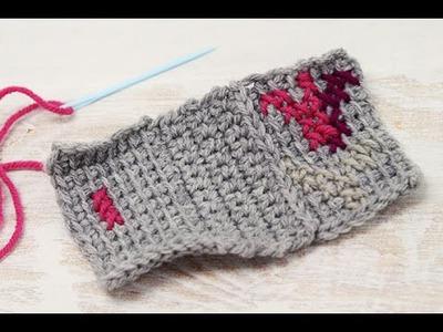 Surface Cross Stitch on Tunisian Crochet