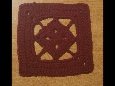 """Tutorial piastrella all'uncinetto """"double square"""" - azulejo crochet - square t."""