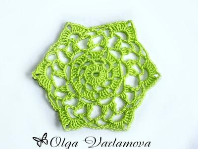 Вязание крючком. Crochet. Шестиугольный мотив 1. Часть 1