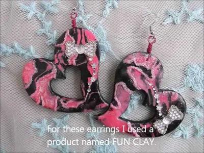 51 Cute DIY Marbled Black&Pink Heart Shaped Earrings
