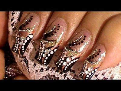 Beads Rhinestones Stripes & Dots Nail Art Design Tutorial