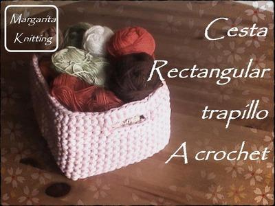 Cesta rectangular a trapillo o totora de crochet (zurdo)