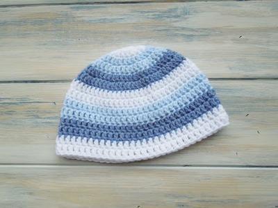 (Crochet) How To - Crochet a newborn baby boy stripey beanie