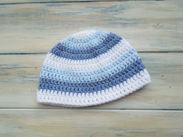 (Crochet) How To - Crochet a newborn baby boy stripey beanie