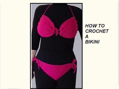 CROCHET PATTERN,  PINK BIKINI, Swim suit, Bathing suit, Swimwear