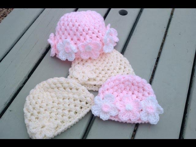 Crochet puff stitch baby cap {video response} | Haylees Hats