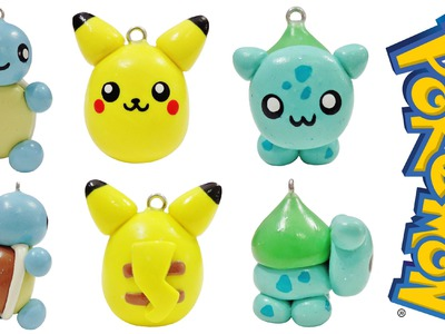 DIY Kawaii Pokemon | Pikachu + Squirtle + Bulbasaur | EASY Polymer Clay Charms