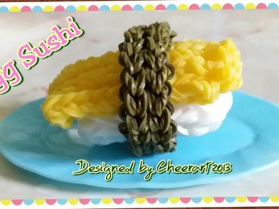 Diy loom bands egg sushi charm rainbow loom tutorial 彩虹橡筋玉子壽司編織教學