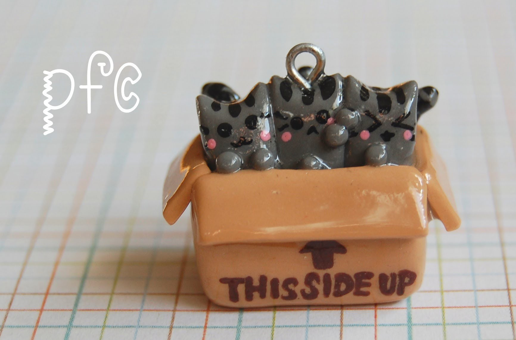 DIY This Side Up ⇧ Pusheen Cats Polymer Clay Charm Tutorial
