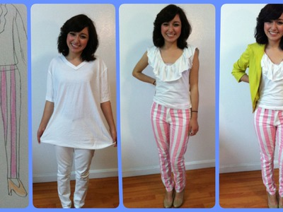 DIY: Turn Basics to a ruffled blouse and striped pants!