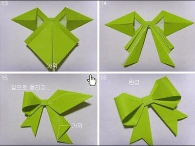 Origami de Lazo Navideño, decoración de Navidad paso a paso