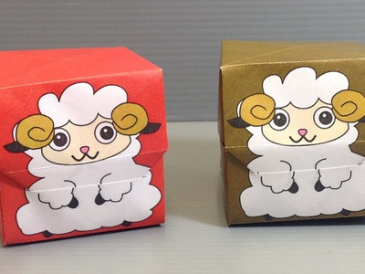 Origami New Year Sheep Gift Box - Print Your Own