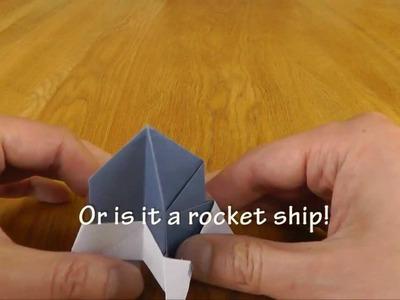 Origami Transformations- a frog transforms into a rocket ship,a lunar lander and a cup