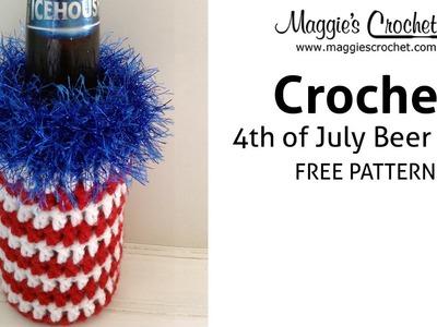 Patriotic Beer Cozy Free Crochet Pattern - Right Handed