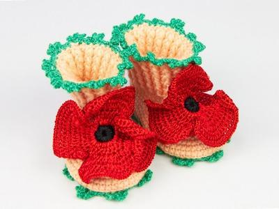 Пинетки Маки крючком - полный курс вязания - Maki crochet booties - full knitting