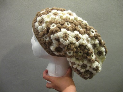 Puff Flower Slouch Hat - Crochet Tutorial