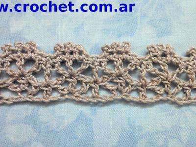 Puntilla N° 34 en tejido crochet tutorial paso a paso.