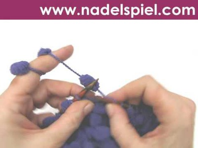 Stricken lernen * Pomponwolle * Maschenanschlag * Gitter stricken * Abketten