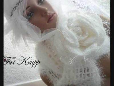 "Cachecol em croche c.rosa gigante"" Eternity rose"", crochet scarf, Bufanda, gehäkelter Schal"