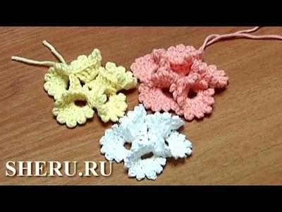 Crochet Round Petals Flower Tutorial 13 Вязание Цветов