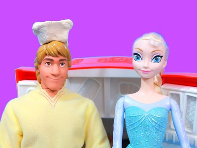 Disney Frozen Elsa has Kristoff make party food with PLAY DOH FRIDGE Princess PARTY Anna