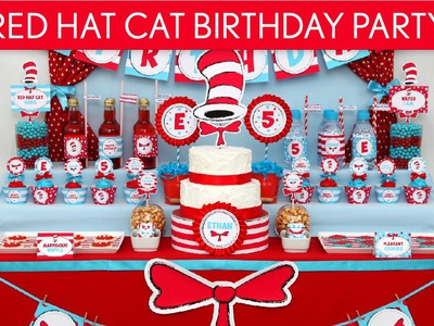 Dr. Seuss Cat in The Hat Birthday Party Ideas. Red Hat Cat - B20