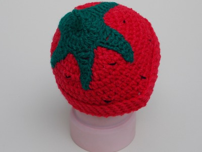 How to Crochet a Strawberry. Tomatoe Beanie to fit Preemie-Adult