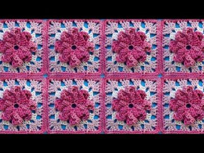 Мотив с цветком Урок 319 Сrochet flower motive Вязание крючком