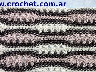 Punto fantasía N° 10 en tejido crochet tutorial paso a paso.