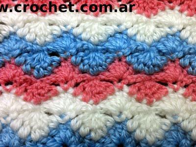 Punto Fantasía N° 31 en tejido crochet tutorial paso a paso.